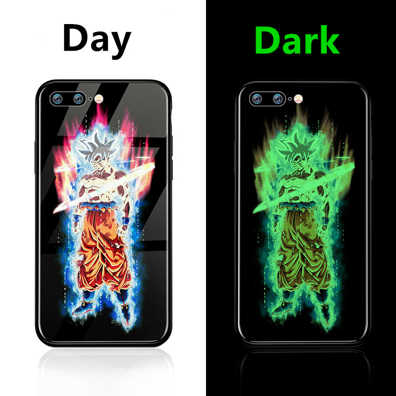 Glow in Dark Dragon Ball Super Son Goku soft Tempered Silicon cover Phone Case For iphone