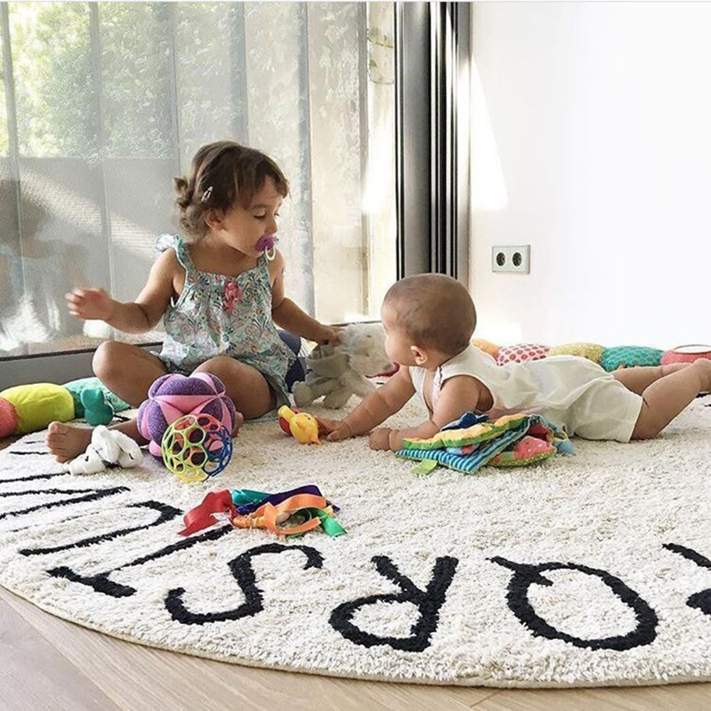 INS haute qualité 100% coton blanc rond ABC tapis et tapis rose tapis de jeu tapis tapete tapis chambre d'enfants décoration de la maison - 6