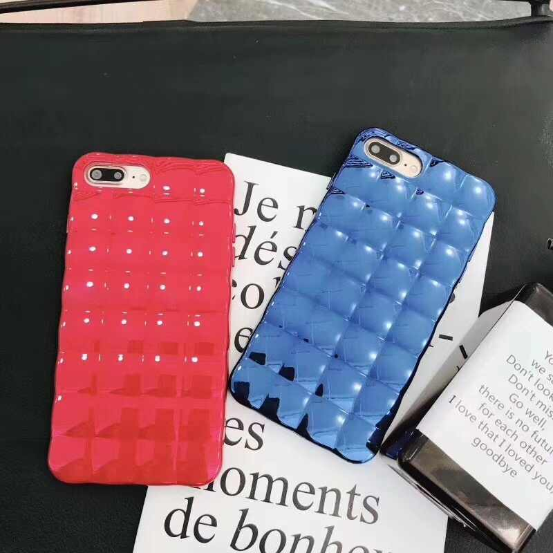 ... Luxury Bling Plating Square Grid Silicone Phone Cases for iPhone 7 8 6  6s Plus X ... 41f7dbd6db87