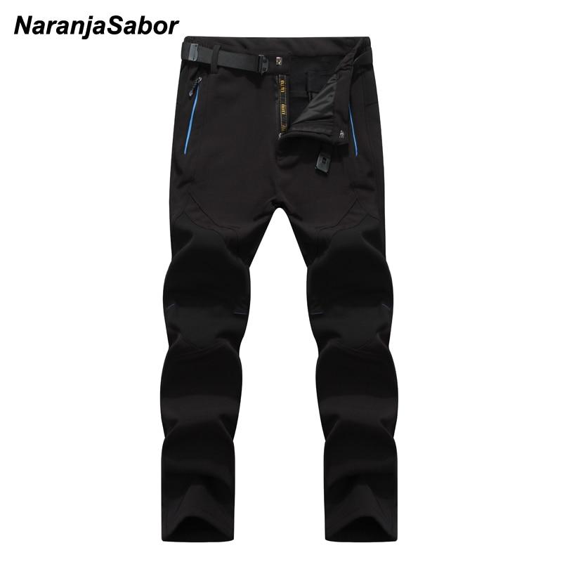 NaranjaSabor 5XL 2019 de los hombres pantalones de invierno impermeable corredor de los hombres gruesos pantalones cálido dentro de pantalones de lana pantalones de hombres pantalones Casuales