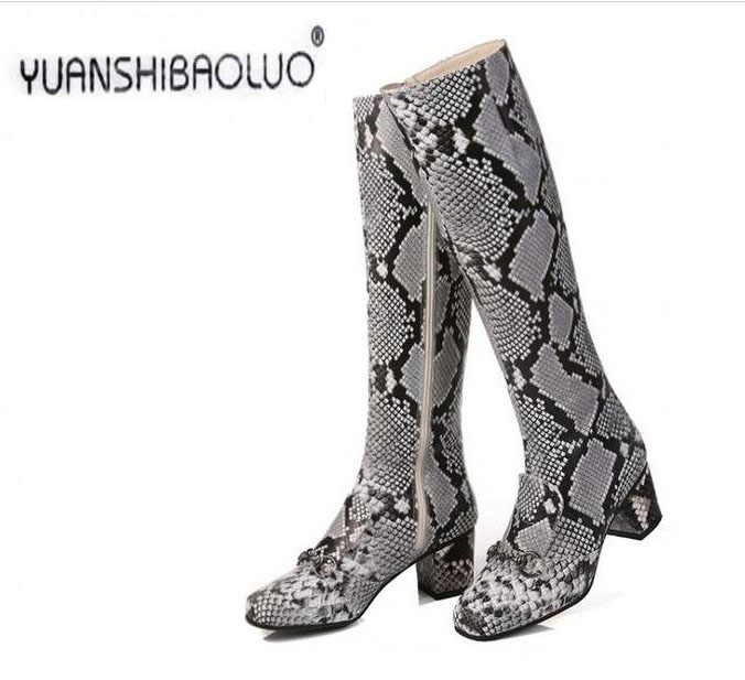 ФОТО Boots female 2016 fashion genuine leather boots thick heel square toe side zipper serpentine pattern boots