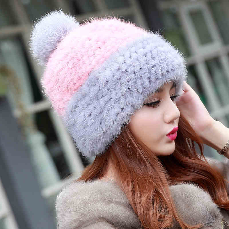 Russia 2016 New Real Knitted Mink Fur Hat for Girl Autumn Winter Beanies Hat with Fox Fur Pom Poms Fashion Fur Cap Factory Sale fur hat for women 100