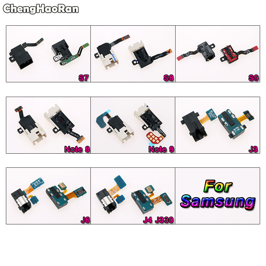 ChengHaoRan Headphone Audio Jack Earphone Socket Flex Cable For Samsung Galaxy S7 Edge S8 S9 NOTE 8 9 J3 J4 J6 J330