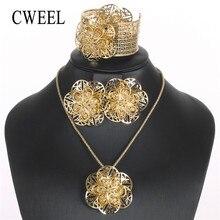 CWEEL traje flor joyería conjuntos para mujeres africano cuentas de joyería conjunto de oro Color Eritrea y Etiopía boda Jewerly