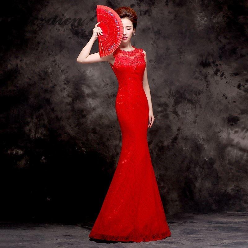 b715c9831 2018 Red Cheongsam Long Qipao Dresses Modern Chinese Wedding Dress Bride  Traditions Robe Orientale Summer Women ...