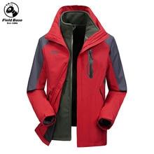 Field Base Men's Windbreakers Windproof Waterproof Winter Jacket Men Warm Parkas Two Jackets In One Male Sportswear 73P60805A