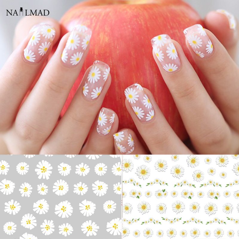 1 sheet Daisy Nail Art Stickers Colorful Flower Nail Sticker Adhesive 3D Nail Decals 1 sheet fading flower 3d nail art stickers lotus nail sticker adhesive nail decals nail stickers
