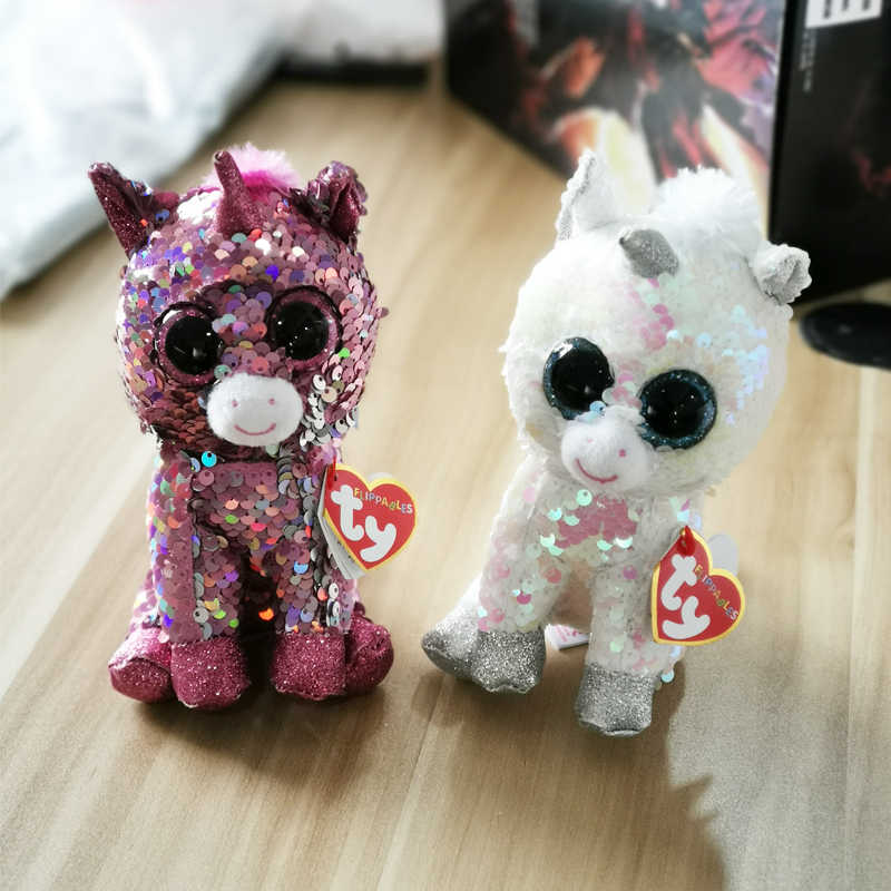 Ty Flippables Limited Collection Unicorn Diamond Sparkle Cute Colorful Paillette Soft Animal Plushed Stuffed Toys
