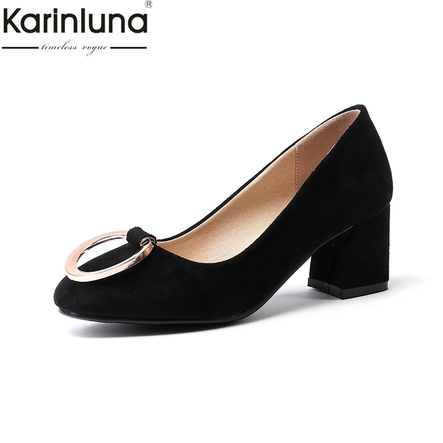 e39556a4f9c3 Karinluna Plus Size 43 Ins Style 2019 Brand New women s Shoes Chunky Heels  Mature Office Lady Classics women s Pumps