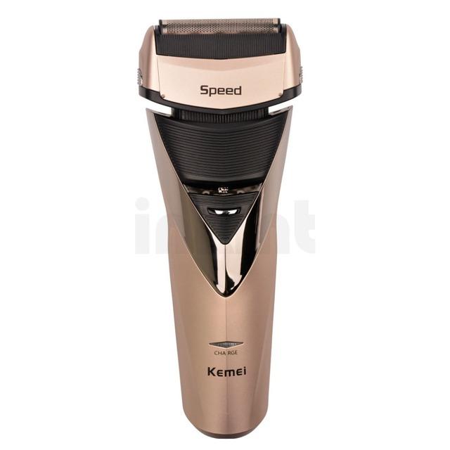 Kemei barbeador alternativo barbeador elétrico recarregável duplo para homens navalha groomer rcs76gq47 molhado e uso seco para maquiagem frete grátis