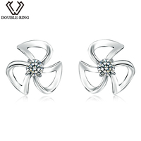 DOUBLE-R 0.04ct Real White Diamond Stud Earrings Female 925 Sterling Sliver Flower Earrings Natural Diamond Jewelry Lover Gift