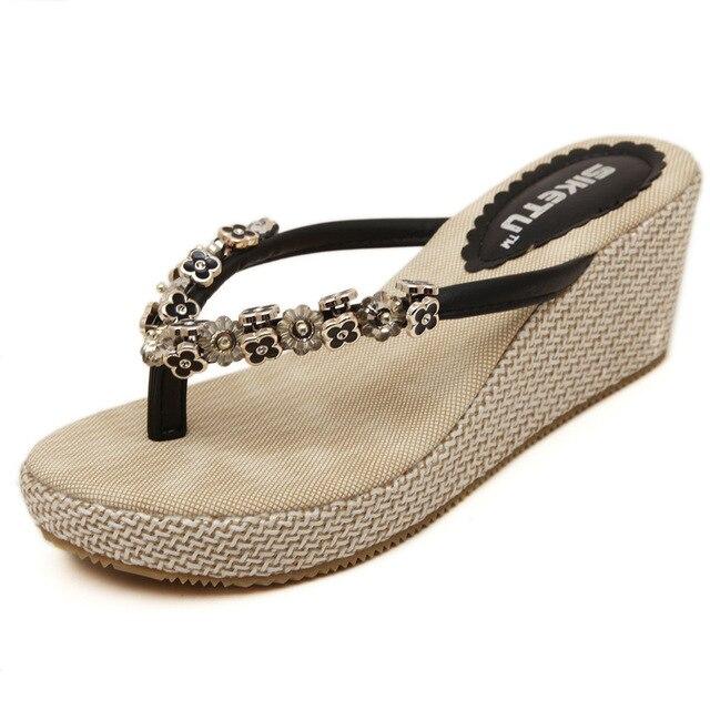 8eadd11fe3e4 Bohemia Metal Rhinestone Wedge Clip Toe Slippers Women Summer Sandals Thong  Platform Flip Flops Elegant Beaded Women Slippers
