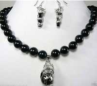 hot sell Details about Jewelry 10mm black dragon earring pendant Necklace Set