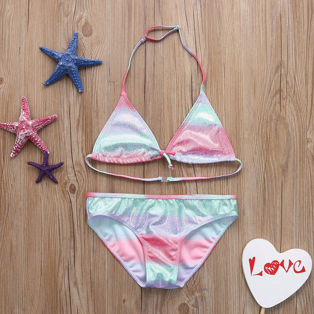 Summer 2018 Bikinis Two-piece Stripe Gradient Bling Swimsuit Girls Split Swimwear Children Bikini Swimming Wear Wholesale JU28 Купальник