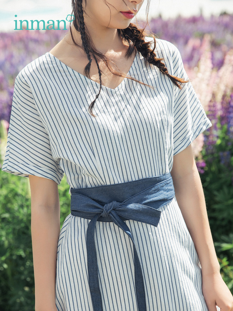 INMAN 2019 Summer New Arrival Cotton Linen Elegant Blue White Striped Contrast With Belt Godness Style