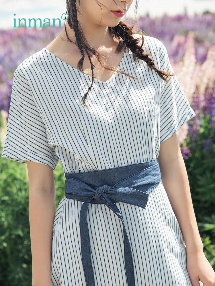 INMAN 2019 été nouveauté coton lin élégant bleu-blanc rayé contraste avec ceinture Style calvitie femmes robe