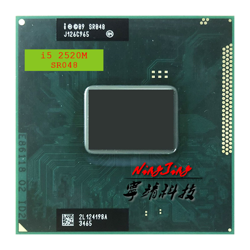 Процессор Intel Core i5 2520M SR048, двухъядерный процессор 2,5 ГГц с четырехъядерным процессором 3 м 35 Вт G2 / rPGA988B