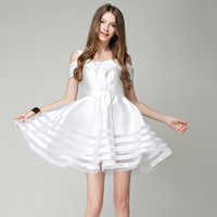 2019 Summer Europe White Sexy Backless Princess Dress Female Sleeveless High Waist Ball Gown Dresses Women Off Shoulder Clothing