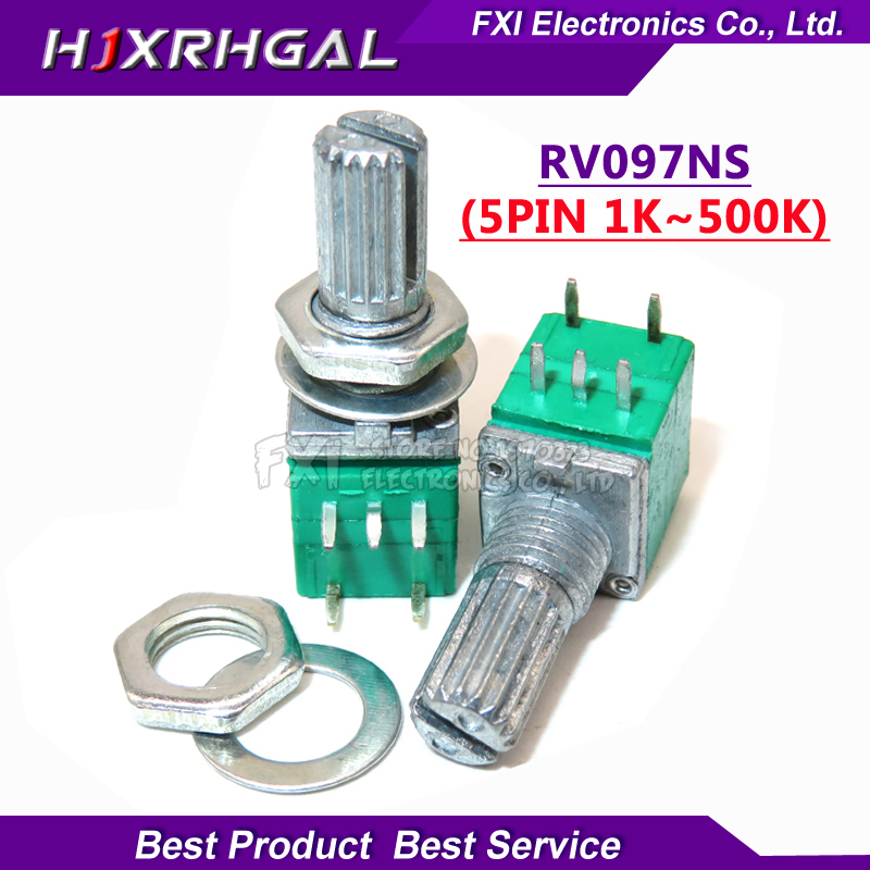5pcs RV097NS 5K 10K 20K 50K 100K 500K B5K With A Switch Audio 5pin Shaft 15mm  Amplifier Sealing Potentiometer