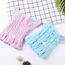 Cute Cat Microfiber Bath Towel Hair Dry Quick Drying Bath Towel Soft Shower Cap Hat for Lady Girls Turban Head Wrap Bathing Tool lx 9009 cozy fiber bath towel shower cap blue