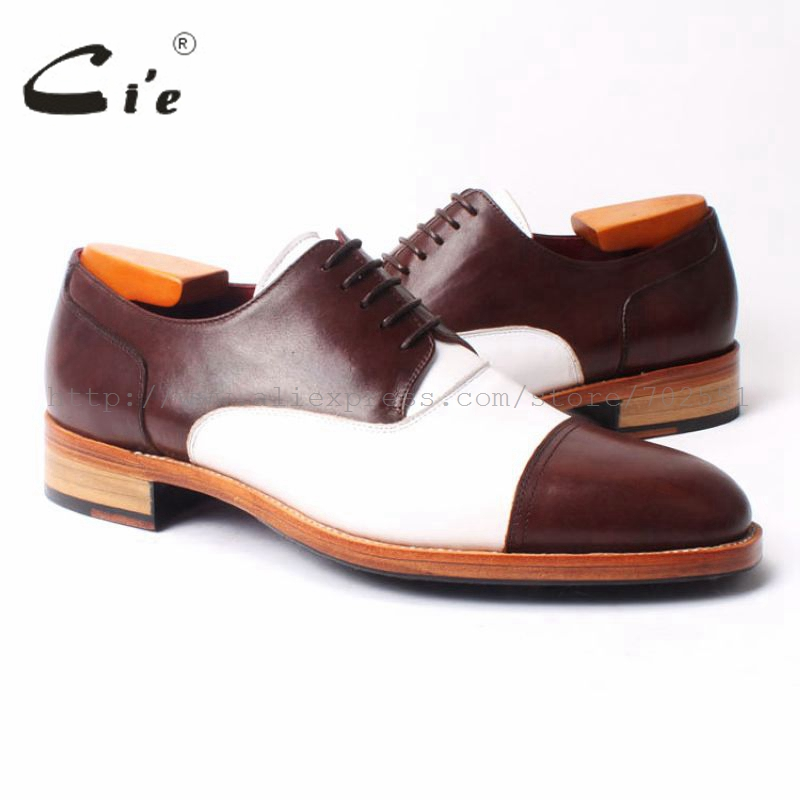 Ci'e Free Shipping Handmade men's Round Toe Derby Leather Dress Goodyear Welt Craft Shoe Color Brown Match White No.D102 стоимость