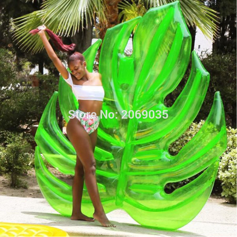 180*160cm Giant Inflatable Green Leaf Pool Raft Lounge Foliage Floats Water Toys Ride-On Swimming Ring For Adult Children Party