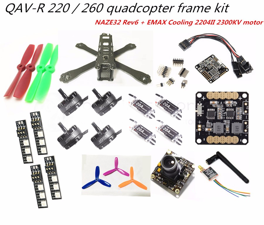 DIY FPV mini drone with camera QAV-R 220/260 quadcopter 4x2 frame kit NAZE32 Rev6 + EMAX cooling 2204II + little bee 20A ESC new qav r 220 frame quadcopter pure carbon frame 4 2 2mm d2204 2300kv cc3d naze32 rev6 emax bl12a esc for diy fpv mini drone