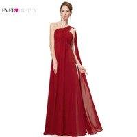 HE09816 Line One Shoulder Ruffles Padded Long Evening Dress
