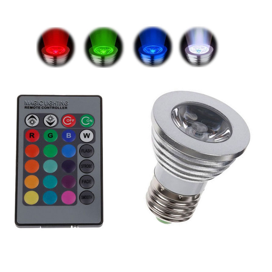 3W High Power E27 RGB font b LED b font Bulb Light 16 Color 85 265V