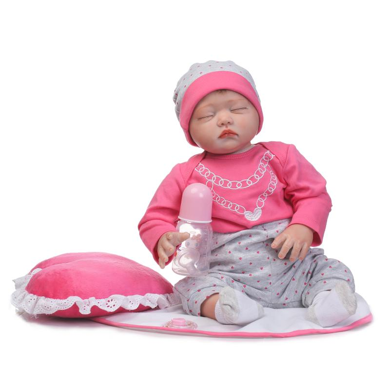 NPKCOLLECTION 55cm Silicone Reborn Sleeping Baby Girl Dolls Toy Lifelike 22inch Newborn Pink Princess Toddler Babies Dolls