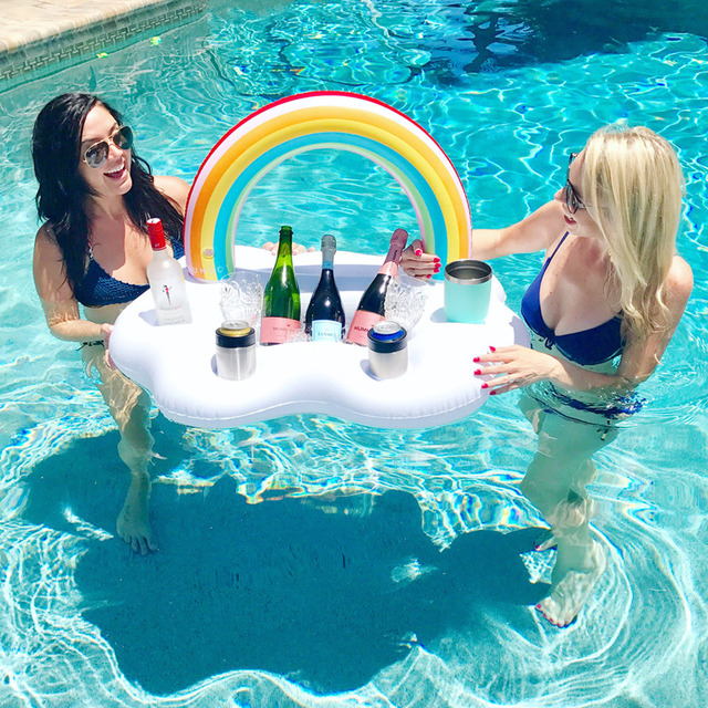 1 Piece Rainbow Drink Holder Ice Bar Pool Party Beach Decor Wedding Decoration Novelty Inflatable Toys Water Floating Salad Bowl