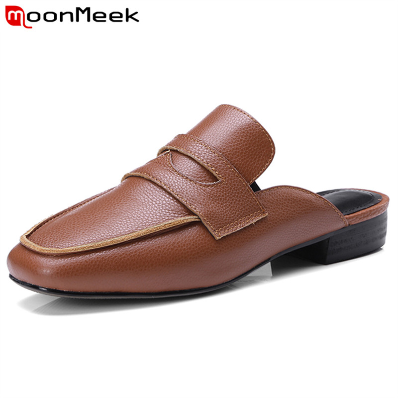 MoonMeek 2018 restoring summer genuine leather women sandals fashion mules simple shoes woman buckle new arrive shoes