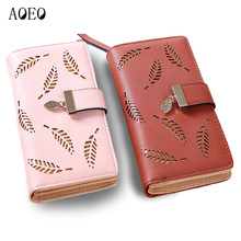AOEO Ladies Wallet Slim Leaves Hollow Soft PU Leather Clutch Women Purses Phone Bag Female Designer Wallets Coin Purse For Girls