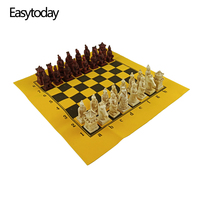 Easytoday New Chess Games Set Table Games Synthetic Leather Chessboard Resin Chess Pieces China Terracotta Warriors Modeling