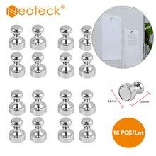 Neoteck 16 шт. сильная Магнитная Нержавеющая серебряная металлическая нажимная булавка магнит диаметр Thumbtack для офисной двери Oganiser Key Coat вешалка