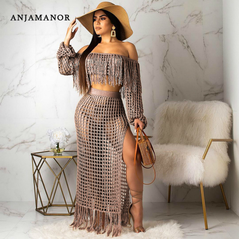 ANJAMANOR Summer 2 Piece Set Women Crochet Tassel Crop Top Maxi Skirt Plus Size Sexy Clothing Boho Beach Outfit 2019 D43-AF33