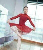 New Girls Lace Spliced Long Sleeve Ballet Leotard Dancewear Female Adult Professional Tight Ballet Costumes Ladies Ballet Dress