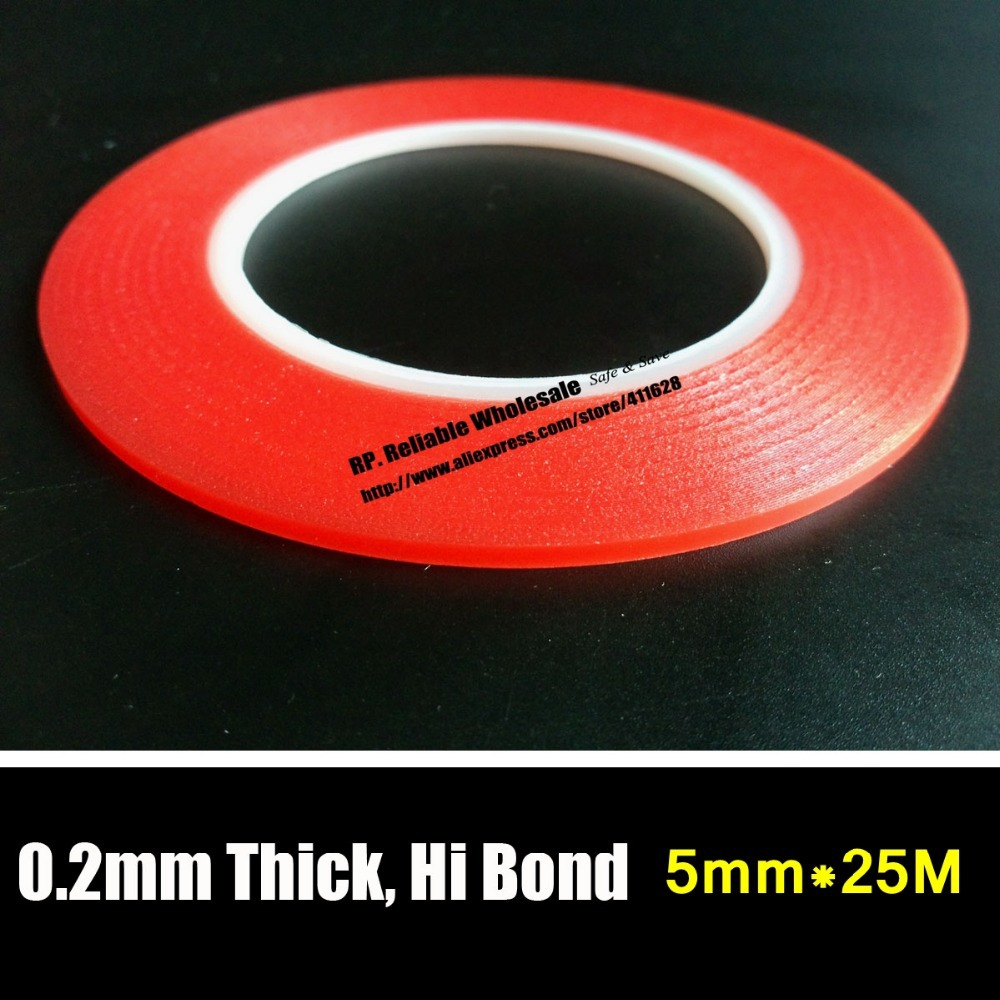 (0.2mm Thick) RP (5mm *25M) Universal Use Acrylic  Double Sided Adhesive Tape Waterproof for Phone  Mini Pad LED Glass Battery 0 5mm thick 5 rolls 8mm 33meters transparent double adhesive acrylic glue tape for car strip glass joint