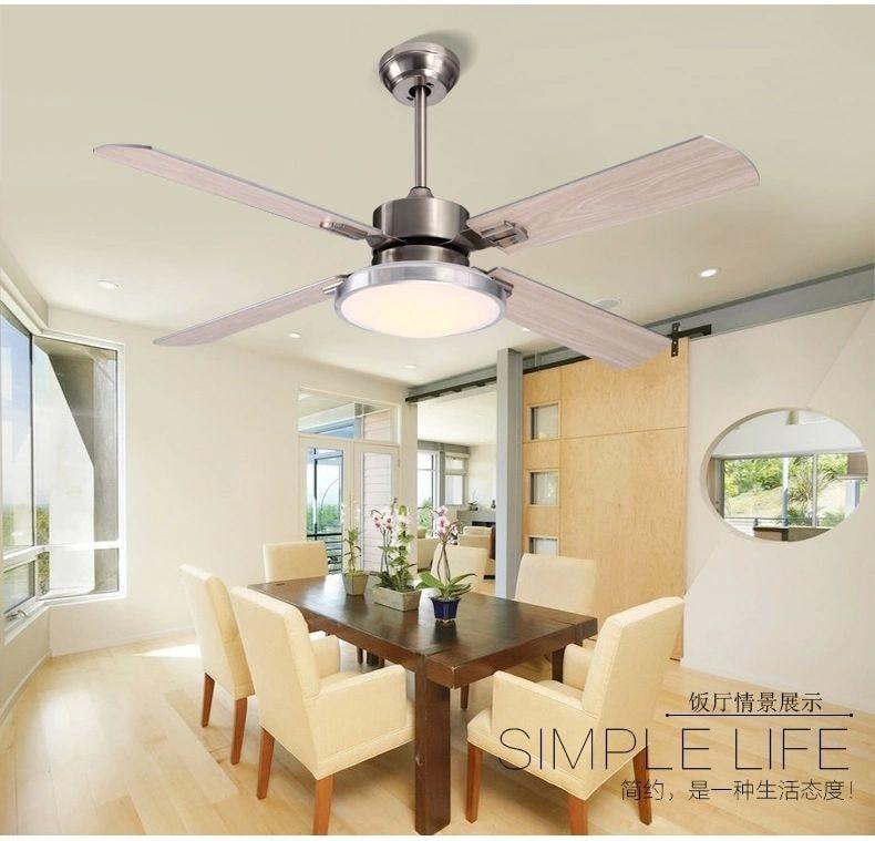 Ventilador de madera / acero inoxidable deja moderno y minimalista comedor sala de estar ventilador de techo luces LED ventilador de techo 42 pulgadas