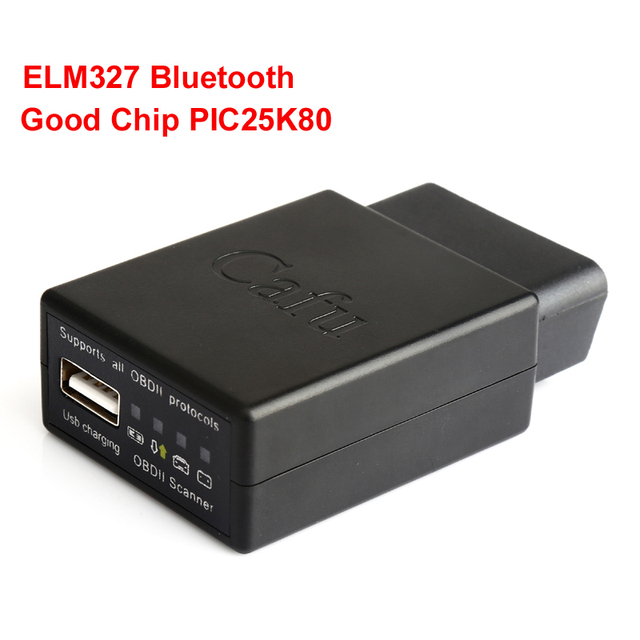 Черный Чип PIC25K80 ELM327 V1.5 Bluetooth Авто Code Reader ELM 327 OBD2 Интерфейса с Зарядки USB Порт Автомобиля Сканер LR10