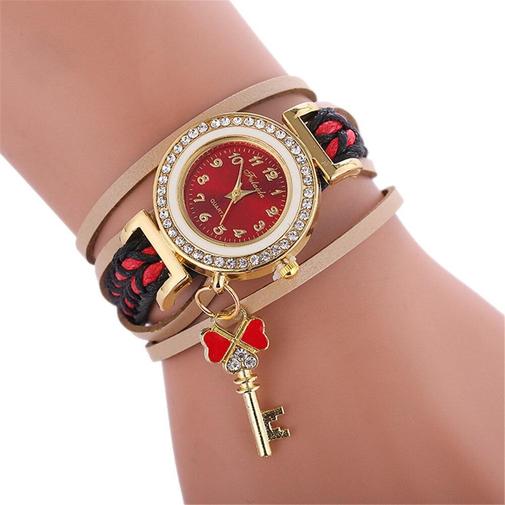 Для женщин кулон Стиль кожаным ремешком Обёрточная бумага вокруг кварцевые часы браслет женское платье Плетеный ремешок Часы наручные под...