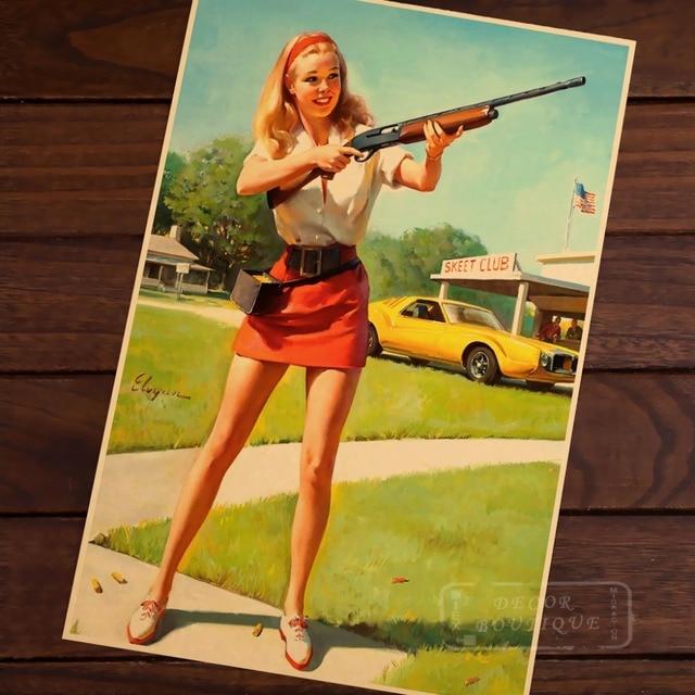 Shotgun Hunt Pin Up Girl Pop Art Map Poster Classic Vintage Retro ...