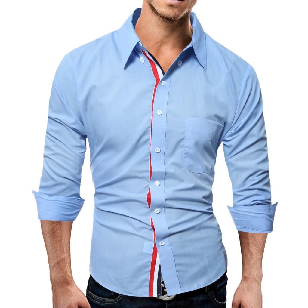 Brand 17 Fashion Male Shirt Long-Sleeves Tops Color Casual Mens Dress Shirts Slim Men Shirt 3XL ASDF 4