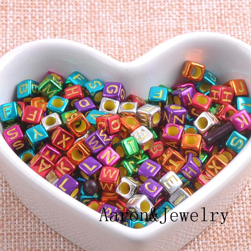 Beads Contemplative 6mm 400pcs Mixed Color Letter Alphabet Cube Acrylic Neon Beads For Jewelry Making Diy Ykl0373 Jewelry & Accessories