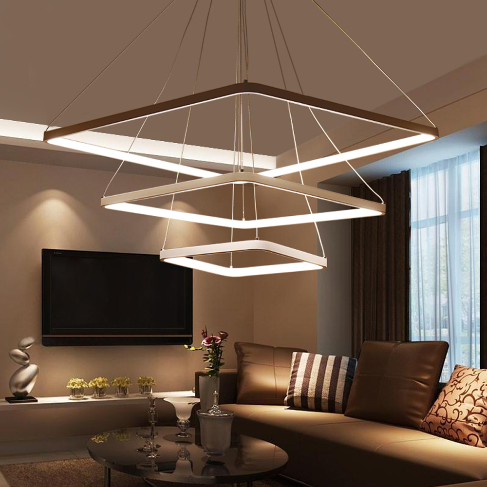 Lamps For Living Room Brown Yellow And Turquoise Modern Led Pendant Lights Hanging Lamp ...