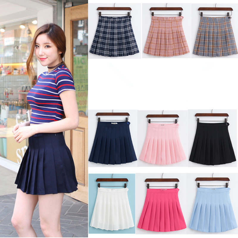 Summer School Style Fashion Women elegant Pleated mini Skirts high waist casual girls skirts women leggings Anti emptied skirt