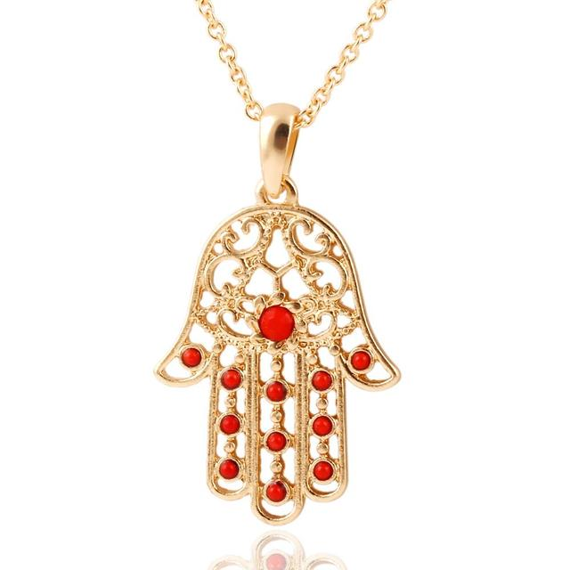 The Hand of Fatima Pendant Necklace with Rhinestones