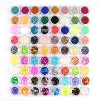 Free Shipping Fashion 72 Pots Nail Art Decoration Glitter Powder Crushed Shell Bead Hexagon Striping Essential