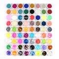 Moda 72 Potes de Acrílico 3D Decorações Da Arte Do Prego Prego Acessórios Encantos Esmagado Shell Bead Striping Essencial