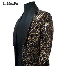 La MaxPa 2017 male singer DJ stage costume Club bar Nightclub Leopard grain Long Jacket Dazzle